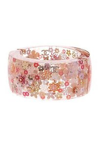 Chanel Chanel Lucite Pink Camellia Hinged Cuff Bracelet