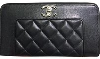 Chanel Chanel Mademoiselle Long Wallet in Black Sheepskin Leather