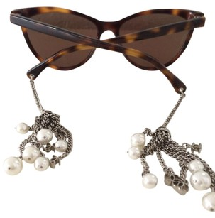 Chanel Chanel pearl jewel tortoise cat eye sunglasses