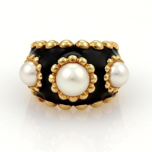 Chanel Chanel Pearls Enamel 18k Yellow Gold Wide Band Ring 5.25 Wbox