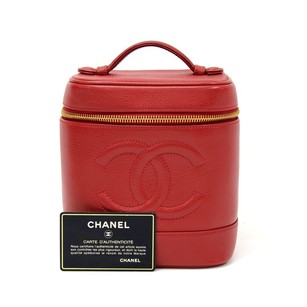 Chanel Chanel Red Leather Cosmetic Hand Bag