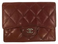 Chanel Chanel Dark Red Quilted Leather Wallet