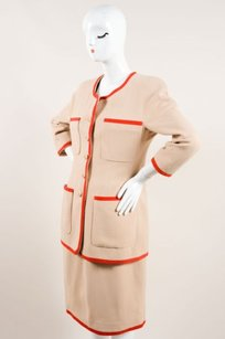 Chanel Chanel Tan Red Trim Gold Tone Cc Button Skirt Suit
