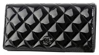Chanel Chanel Timeless Classic zipper long wallet patent leather black Free Shipping