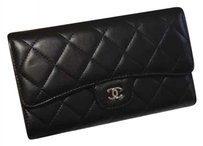 Chanel Chanel Tri-fold Wallet Clutch Black Quilted Lambskin