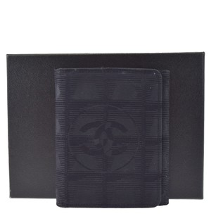 Chanel CHANEL Trifold Jacquard Leather Black Wallet Purse