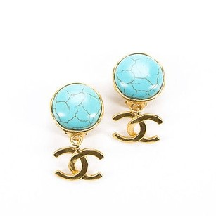 Chanel Chanel Turquoise Stone Cc Drop Clip On Earrings