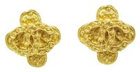 Chanel CHANEL Vintage 94A CC Logo Clip-On Earrings Goldtone