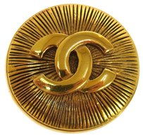 Chanel CHANEL VINTAGE CC LOGOS BROOCH PIN GOLD-TONE CORSAGE FRANCE -