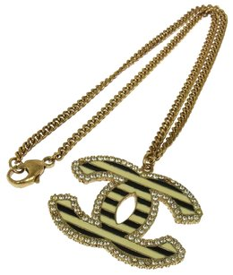 Chanel CHANEL VINTAGE CC LOGOS STRIPE RHINESTONE GOLD CHAIN NECKLACE