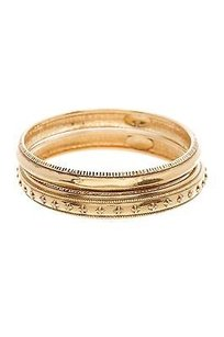 Chanel Chanel Vintage Gold-tone Cross Bangle Bracelet Set Of