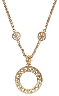 Chanel Chanel Vintage Gold-tone Mirror Pendant Long Necklace