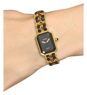 Chanel Chanel Premiere Black Gold Toned Leather Metal Chain Crystal Dial Watch