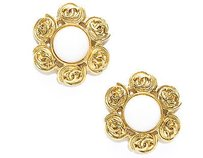 Chanel Chanel White Stone Gold Cc Clip On Earrings