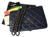 Chanel Chanel WOC Wallet On Chain Navy Blue Aged Calfskin SHW Silver Hardware Clutch Shoulder Cross Body Evening Bag