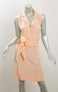 Chanel Chanel Womens Peach Silk Sleeveless Belted Blouse Shirt Short Skirt Outfit
