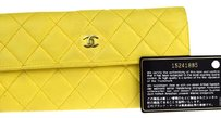 Chanel Chanel Yellow CC Quilted Long Bifold Wallet