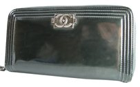Chanel CHANEL Zip Long Wallet Calf Leather SS1373-370 Black