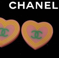 Chanel *CHECK BUBBLE - NOT AT STORE! Chanel Heart Pink Earrings CCAV260