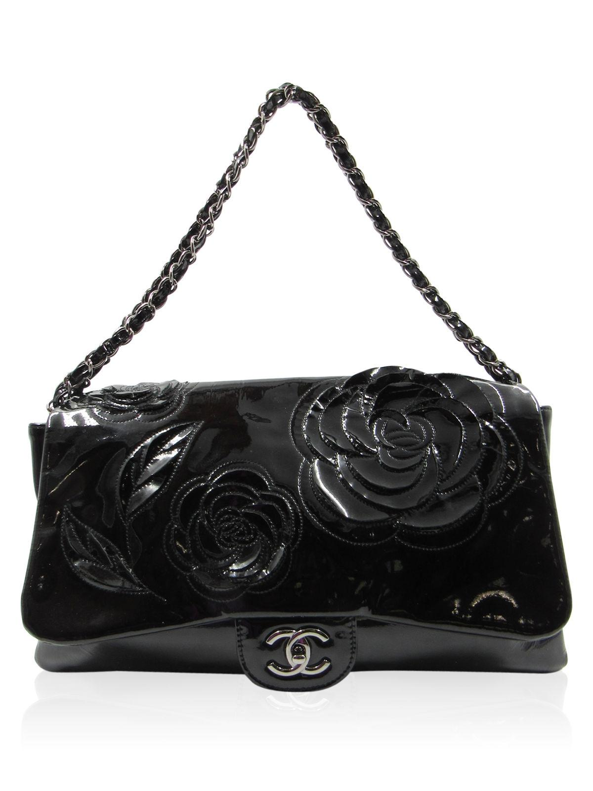 Chanel Classic Flap Camelia Flower Cutout Tweed Black Patent Leather Shoulder Bag - Tradesy