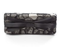 Chanel Satin And Black Lace Clutch