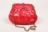Chanel Vintage Python Red Clutch