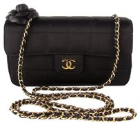 Chanel Satin Camelia Leather Cross Body Bag