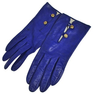 Chanel Cute! Authentic CHANEL CC Logos Gloves Blue Leather #7 Vintage France LP14053