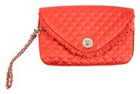 Chanel Envelope Quilted Satin Red Clutch