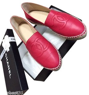 Chanel 15s Lambskin Leather Red Flats