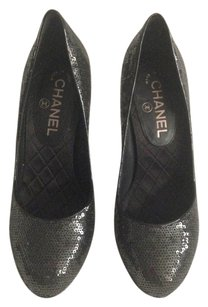 Chanel Evening Sequin Black Pumps