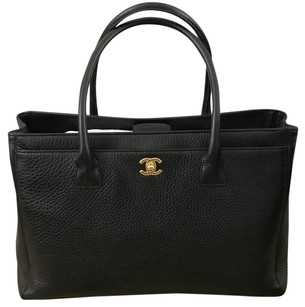 Chanel Executive Cerf Gold Hardware Tote in Black