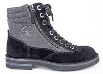 Chanel 15c Canvas Suede Zip Lace Up Short Combat Gray / Black Boots