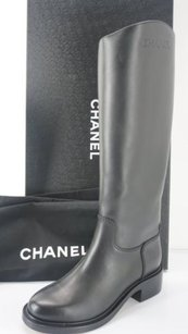 Chanel 14b Leather Black Boots