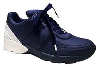 Chanel Navy Leather Sneakers Dark Blue Athletic