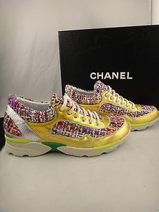 Chanel 14k Gold Cc Tweed Leather Trainer Lace Tennis Sneaker Multi-Color Athletic