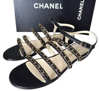 Chanel Flats Blue BLACK Sandals