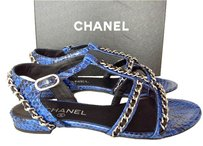 Chanel Flats Python Leather BLUE/BLACK Sandals