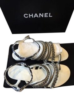 Chanel Black Tweed Strappy Chain White Sandals