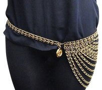 Chanel Genuine Vintage Chanel Gold Black Leather Multi-strand Belt