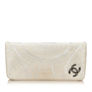 Chanel Gray Leather Clutch