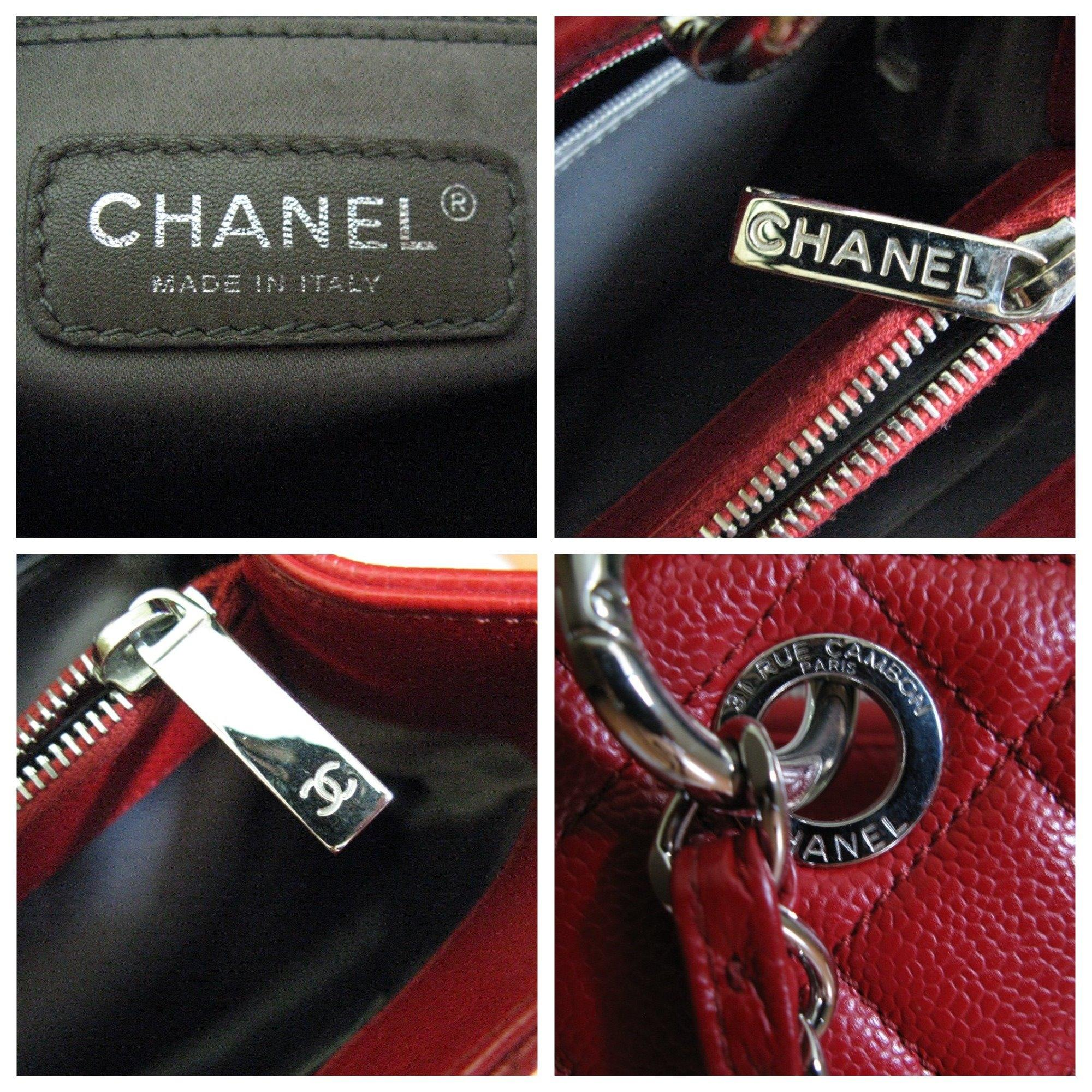 chanel red leather grand shopper shipping tote tradesy