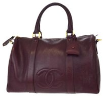 Chanel Hand Leather Bordeaux Travel Bag