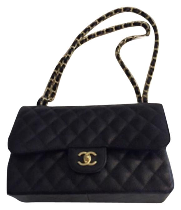Chanel Jumbo Double Flap Black Caviar Gold Hardware
