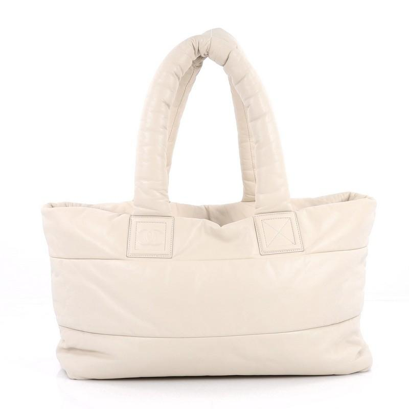 chanel tote bag. chanel leather tote in off-white bag r