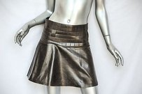 Chanel Womens Brown Leather Mini Skirt Browns