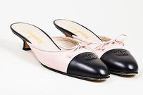 Chanel Black Leather Bow Pink Mules