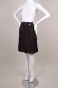 Chanel Black Suede Pleated Skirt