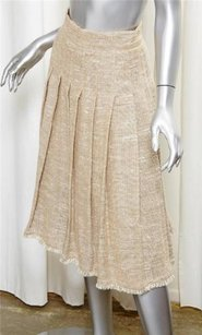 Chanel 08p Womens Tan Linen Pleated Midi 362 Skirt Beige