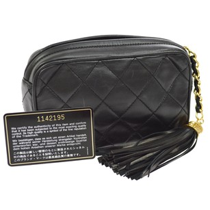 Chanel Pouch Leather Black Clutch